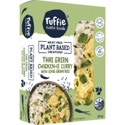 Photo of Ruffie Rustic Foods Ruffie Plant Based Thai Green Chicken-Ie Curry With Long Grain Rice 350g