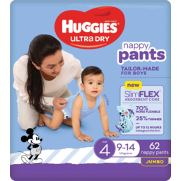 Photo of Huggies Ultra Dry Nappy Pants For Boys 9-14kg Size 4 Jumbo 62 Pack