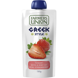 Photo of Farmers Union Greek Style Yogurt Pouch Hint Of Real Strawberry 130gm
