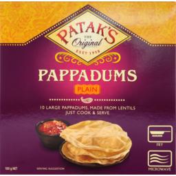 Photo of Pataks Pappadums Cte Plain 100gm