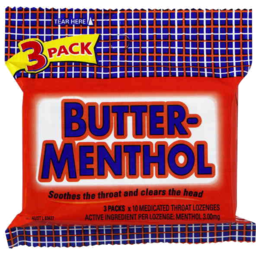 Photo of Butter Menthol Added Vitamin C 3 Stick Packs X 10 Medicated Throat Lozenges