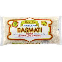Photo of King's Choice Highland Basmati Aromatic Long Grain Rice 1kg