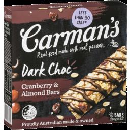 Photo of Carmans Dark Choc/Cranberry/Almond Bars 6 Pack