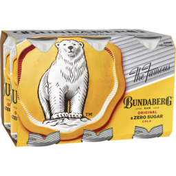 Photo of Bundaberg Rum Original & Zero Sugar Cola 6 Pack 375ml