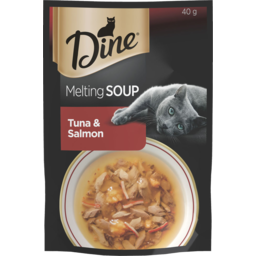 Photo of Dine Melting Soup Tuna & Salmon Wet Cat Food Treat 40g