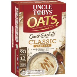 Photo of Uncle Tobys Oats Quick Sachets Breakfast Cereal Variety 12pk 35g 35g