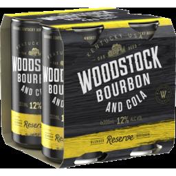 Photo of Woodstock Bourbon & Cola 12% 4x200ml