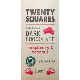 Photo of Twenty Squares Dark Chocolate Raspberry And Coconut 100gm