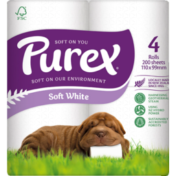 Photo of Purex Toilet Paper 2 Ply White 4 Pack