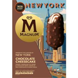 Photo of Streets Magnum New York Chocolate Cheesecake Ice Cream 4 Pack 428ml