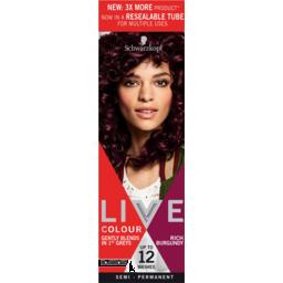 Photo of Schwarzkopf Live Rich Burgundy Semi Permanent Hair Colour Resealable Tube 1application