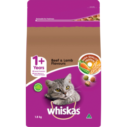 Photo of Whiskas 1+ Years Beef & Lamb Flavours Dry Cat Food 1.8kg