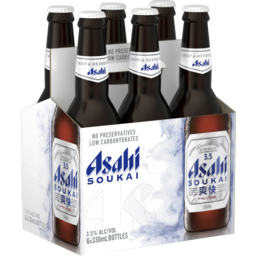 Photo of Asahi Soukai 3.5% Bottle 330ml 6 Pack
