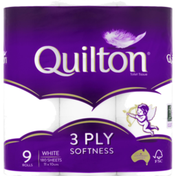 Photo of Quilton White Toilet Tissue 3 Ply 9 Pack