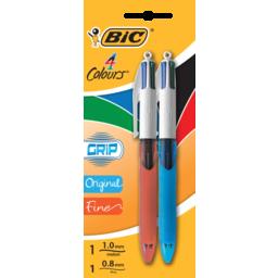Photo of Bic 4 Colour Grip Fine & Medium 2pk