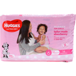 Photo of Huggies Ultra Dry Nappies Junior Girl 14pk