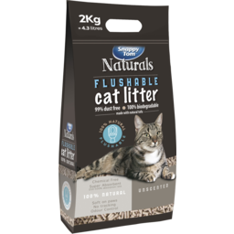 Photo of Snappy Tom Naturals Flushable Cat Litter Unscented 2kg