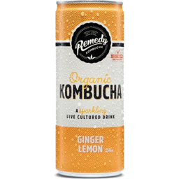 Photo of Remedy Kombucha Ginger Lemon Organic Kombucha Sparkling Live Cultured Drink Can 250ml