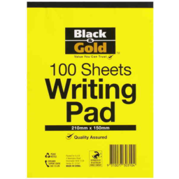 Photo of Black And Gold Writing Pad A5 100 Leaf