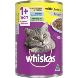 Photo of Whiskas 1+ Wet Cat Food Chicken Mince 400g Can