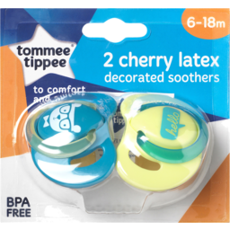 Photo of Tommee Tippee Decorated Cherry Latex Soothers, 2x6m