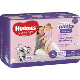 Photo of Huggies Ultra Dry Nappy Pants, Girls, Size 5 (12-17kg), 26 Count Convenience Packs