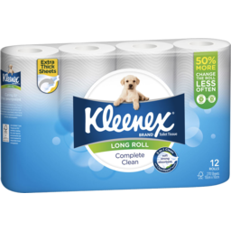 Photo of Kleenex Complete Clean Toilet Tissue, Long Roll, 12 Rolls