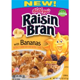 Photo of Kellogg's Raisin Bran, Breakfast Cereal, With Bananas, Good Source Of Fiber, 14.5 Oz Box