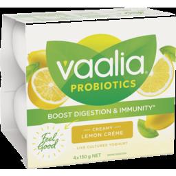 Photo of Vaalia Probiotic Lemon Creme Yoghurt 4x150g
