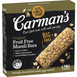 Photo of Carman's Original Fruit Free Muesli Bars 270g