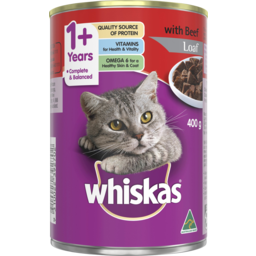 Photo of Whiskas Adult Wet Cat Food Beef Loaf 400g Can