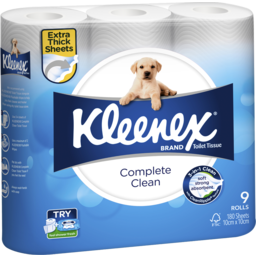 Photo of Kleenex Complete Clean Toilet Tissue, 9 Rolls