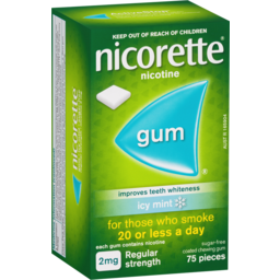 Photo of Nicorette Nicotine Gum Icy Mint 2mg Regular Strength 75 Pack