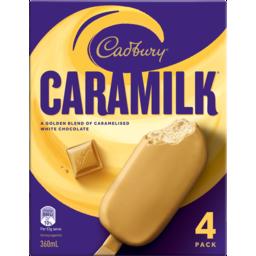 Photo of Cadbury Caramilk Ice Cream Sticks 4 Pack 360ml
