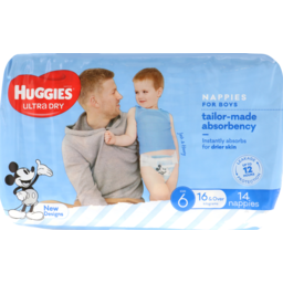 Photo of Huggies Ultra Dry Nappy Size 6 Junior Boy 4x14 Pce