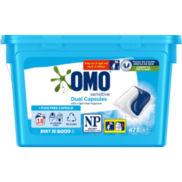 Photo of Omo Dual Sensitive With A Light Fresh Fragrance Laundry Liquid Capsules Tub 18 Pack 473g