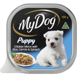 Photo of My Dog Puppy Wet Dog Food Chicken With Rice, Carrots & Spinach Mince 100g Tray