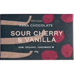 Photo of Pana Chocolate 60% Cacao Sour Cherry & Vanilla 45gm