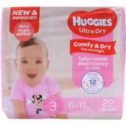 Photo of Huggies Ultra Dry Nappies Crawler Girl 22pk