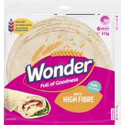 Photo of Wonder White Wonder High Fibre Soft White Wraps 6 Pack 312g