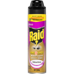 Photo of Raid One Shot Odourless Multipurpose Insect Killer Double Nozzle Spray Aerosol 320g