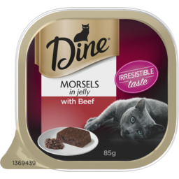 Photo of Dine Morsels In Jelly With Beef Wet Cat Food 85g Tray