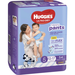 Photo of Huggies Ultra Dry Nappy Pants Boy Size 5 (12-17kg) 54 Pack