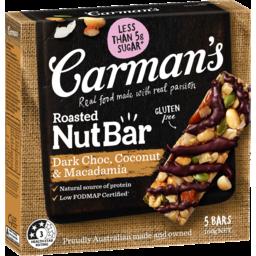Photo of Carman's Roasted Nut Bar Dark Choc, Coconut & Macadamia 5 Pack 160g