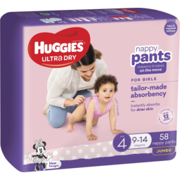 Photo of Huggies Nappy Pants Girls Size 4 (9-14kg) 58 Pack (Jumbo)