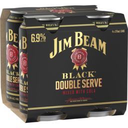 Photo of Jim Beam Black & Cola Double Serve Can 6.9% 375ml 4 Pack