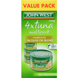 Photo of John West Tuna Chunk Style In Olive Oil Blend Value Pack 4x95g