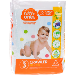Photo of Little Ones Ultra Dry Nappies Crawler Boys & Girls 6-11Kg Size 3 16 Pack