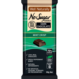 Photo of Well Naturally NSA Dark Chocolate Mint Crisp 90g