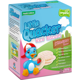 Photo of Health Culture Little Quacker Strawberry Flavour Rice Biscuits 16 Pack 40g
